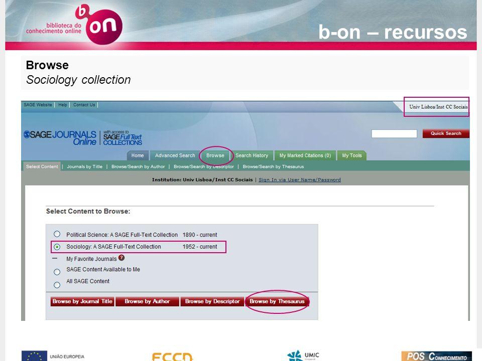 b-on – recursos Browse Sociology collection
