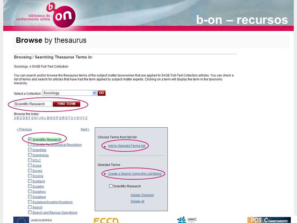 b-on – recursos Browse by thesaurus
