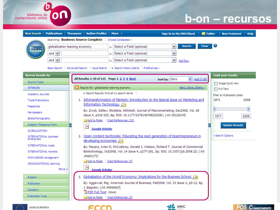 b-on – recursos