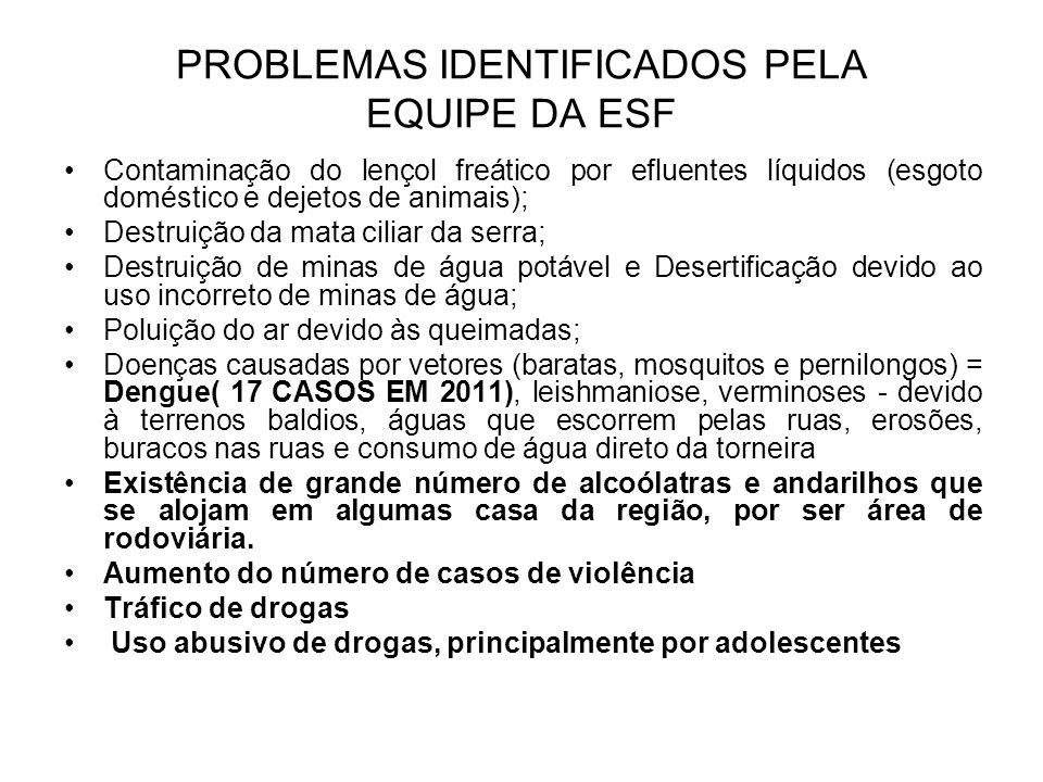 PROBLEMAS IDENTIFICADOS PELA EQUIPE DA ESF
