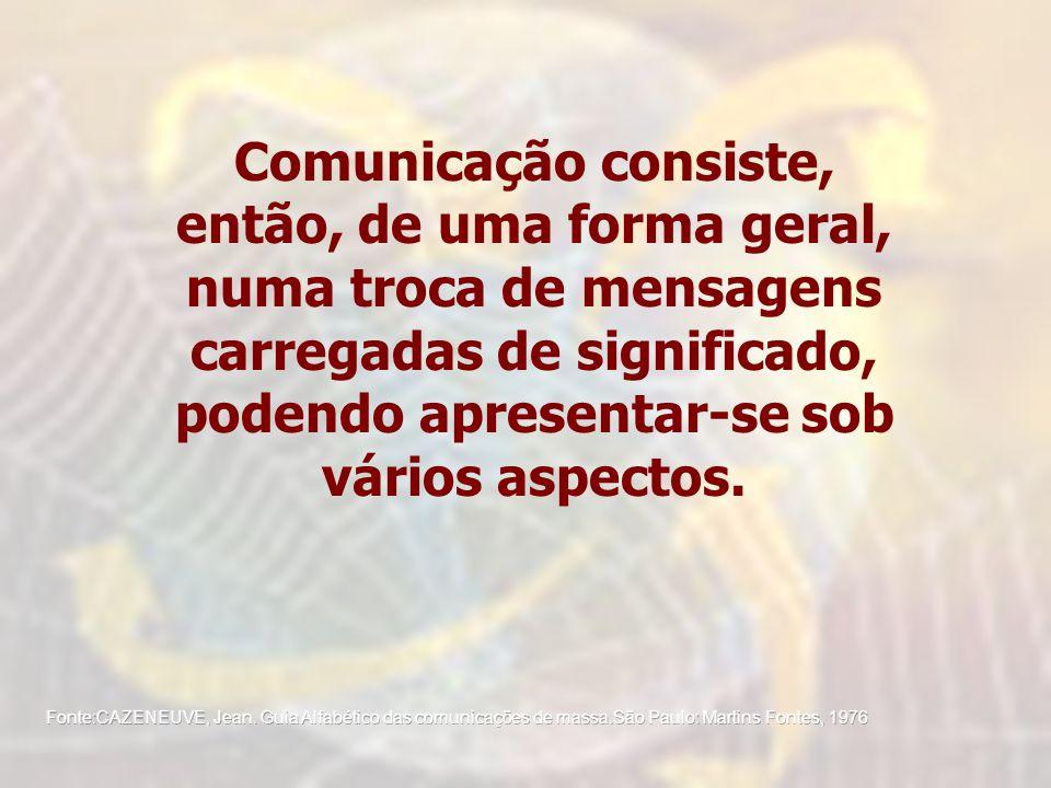 Comunicação consiste, então, de uma forma geral, numa troca de mensagens carregadas de significado, podendo apresentar-se sob vários aspectos.