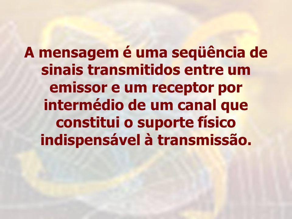 A mensagem é uma seqüência de sinais transmitidos entre um emissor e um receptor por intermédio de um canal que constitui o suporte físico indispensável à transmissão.