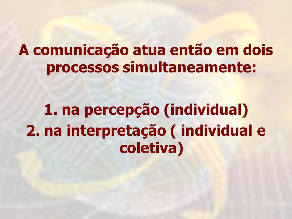 A comunicação atua então em dois processos simultaneamente: