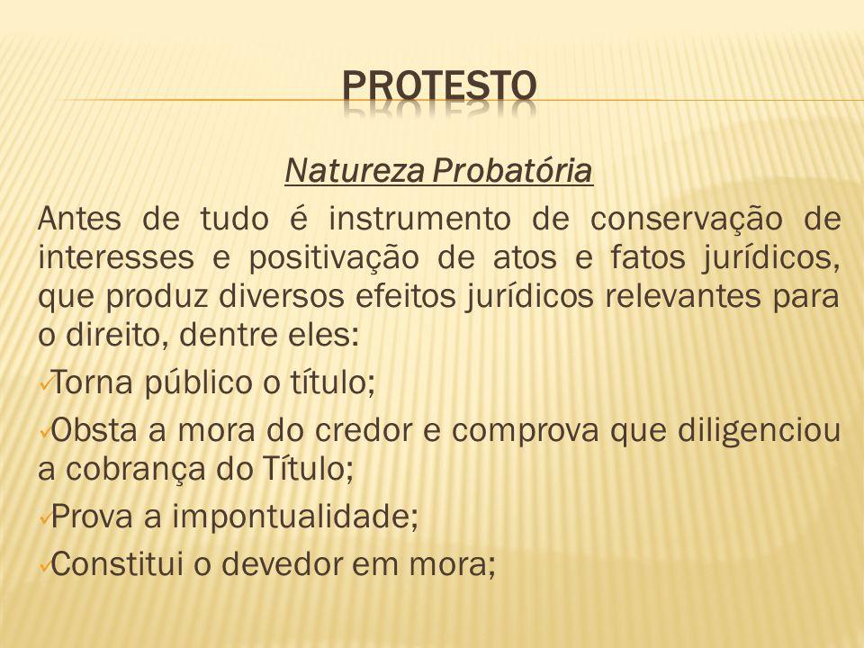 PROTESTO Natureza Probatória