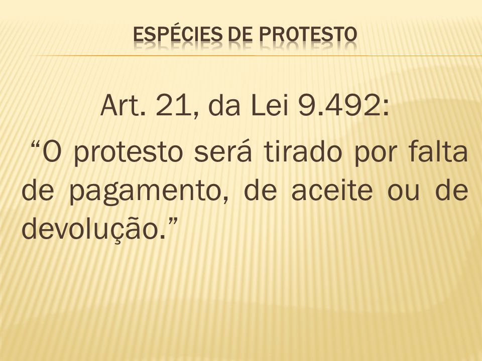 ESPÉCIES DE PROTESTO Art.