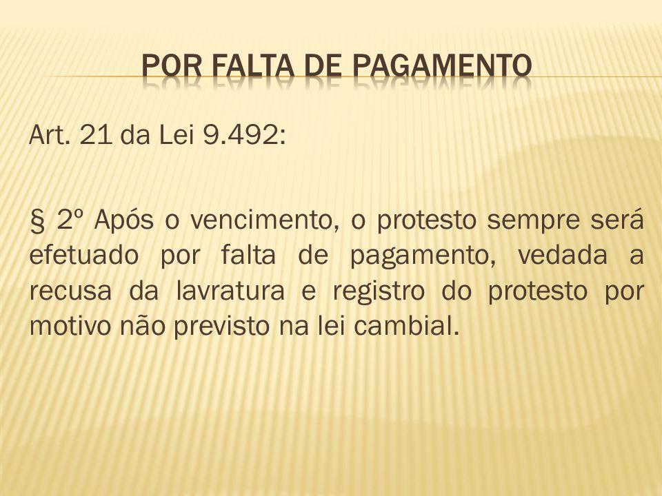 POR FALTA DE PAGAMENTO