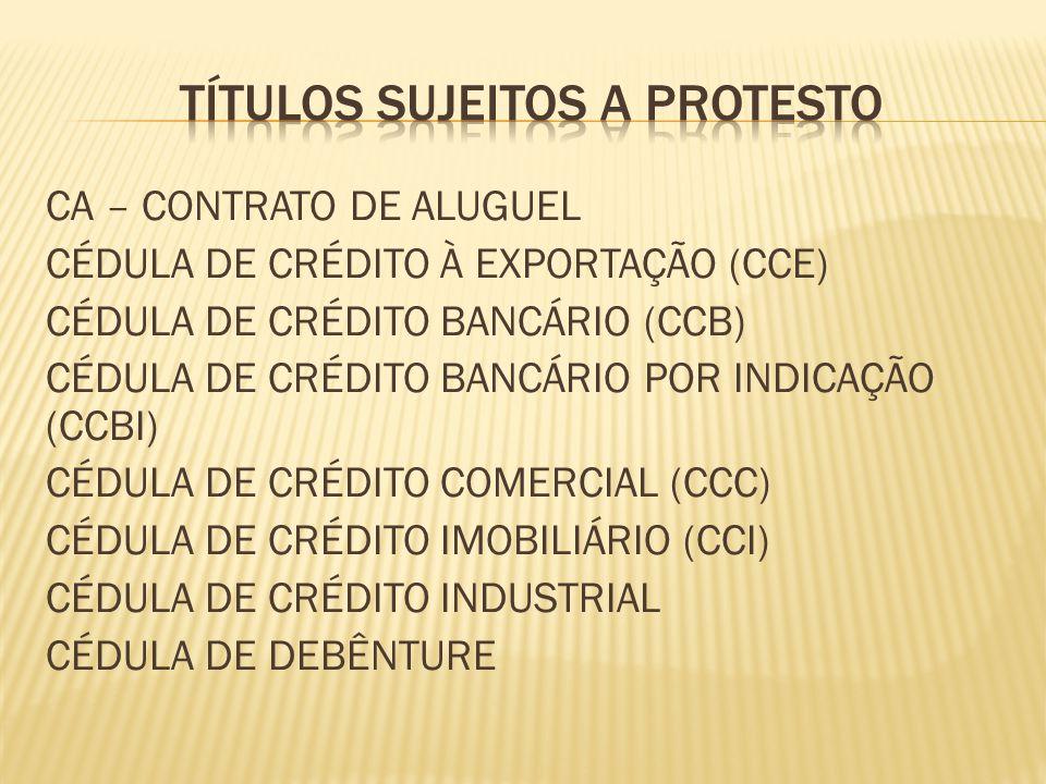 TÍTULOS SUJEITOS A PROTESTO