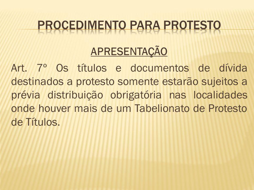 PROCEDIMENTO PARA PROTESTO