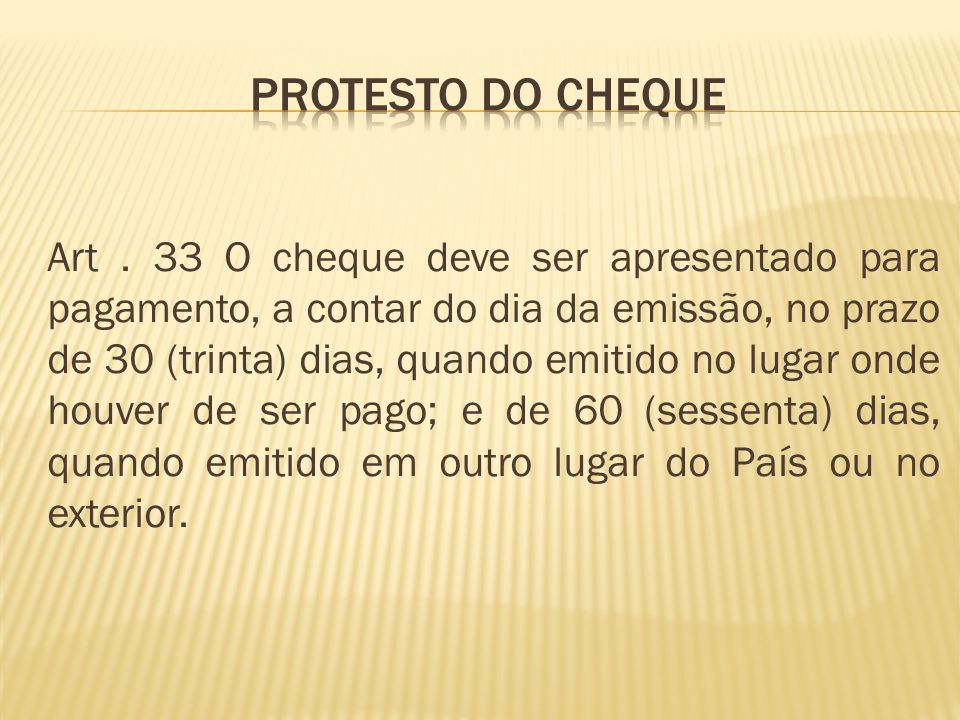 PROTESTO DO CHEQUE