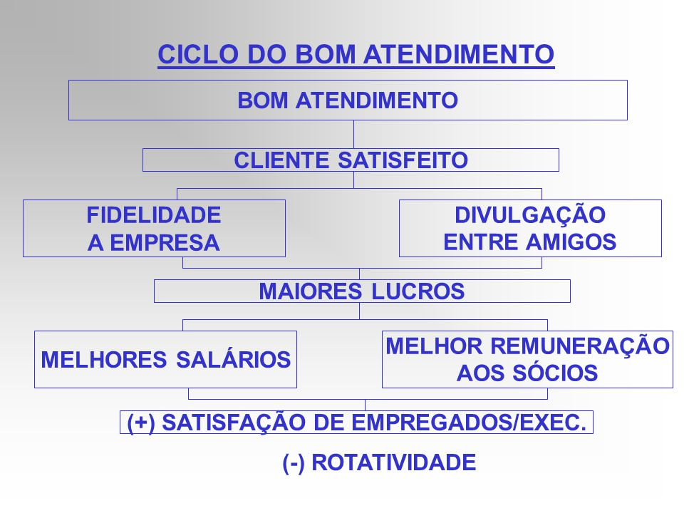 CICLO DO BOM ATENDIMENTO (+) SATISFAÇÃO DE EMPREGADOS/EXEC.