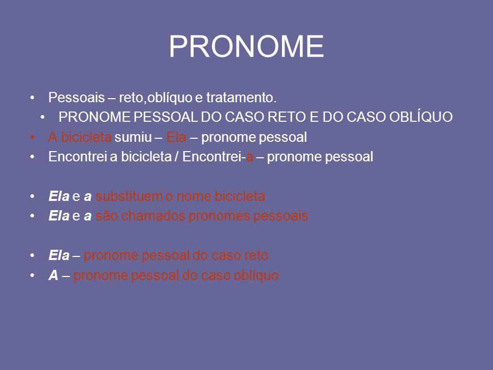 PRONOME PESSOAL DO CASO RETO E DO CASO OBLÍQUO