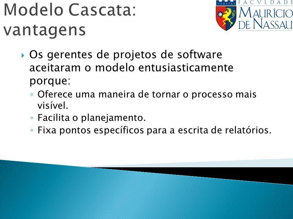 Modelo Cascata: vantagens