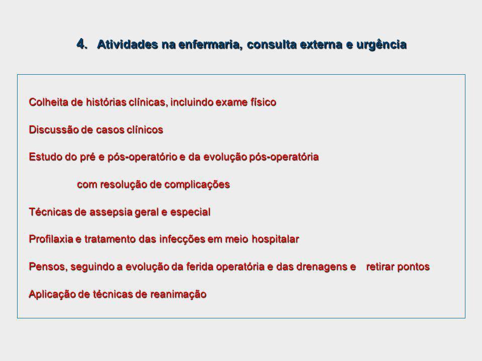 4. Atividades na enfermaria, consulta externa e urgência