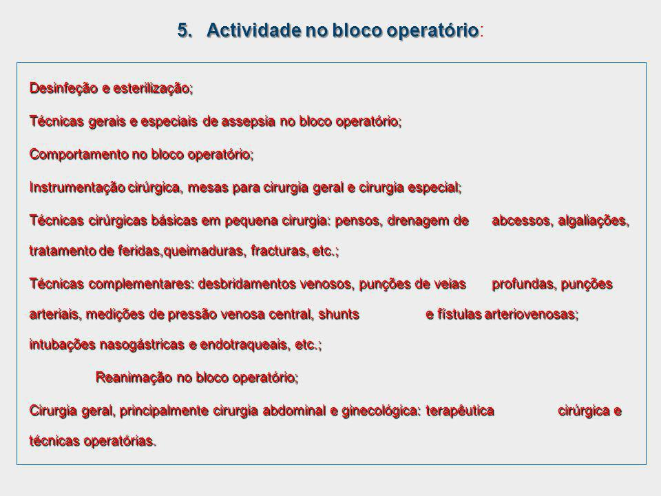 5. Actividade no bloco operatório: