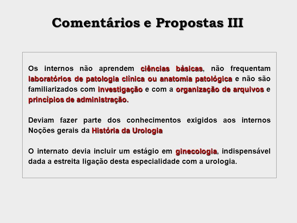 Comentários e Propostas III