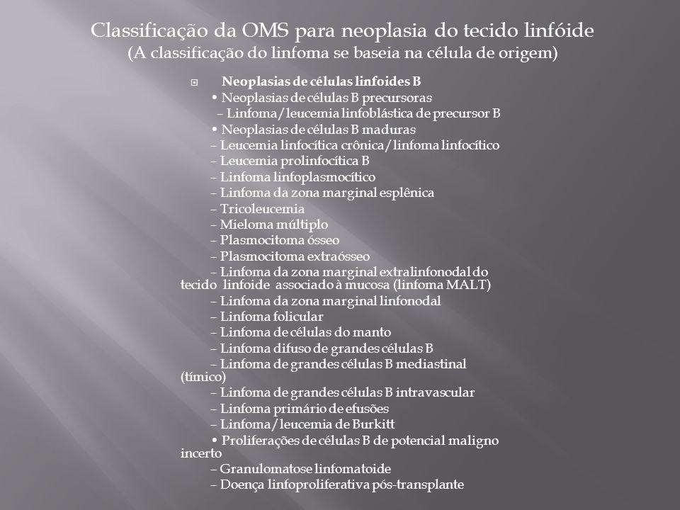 Classificação da OMS para neoplasia do tecido linfóide