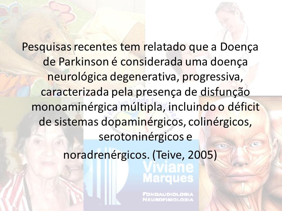 Pesquisas recentes tem relatado que a Doença de Parkinson é considerada uma doença neurológica degenerativa, progressiva, caracterizada pela presença de disfunção monoaminérgica múltipla, incluindo o déficit de sistemas dopaminérgicos, colinérgicos, serotoninérgicos e noradrenérgicos.