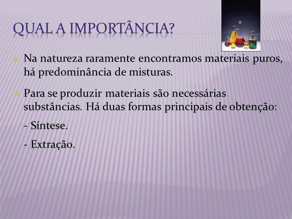 Qual a importância Na natureza raramente encontramos materiais puros, há predominância de misturas.