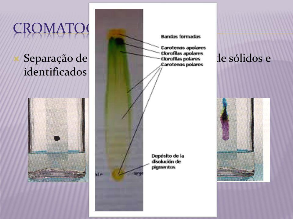 Cromatografia Separação de uma mistura homogênea de sólidos e identificados pela cor.