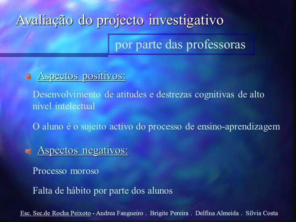 Avaliação do projecto investigativo