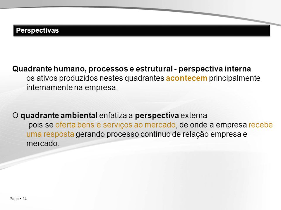 Quadrante humano, processos e estrutural - perspectiva interna