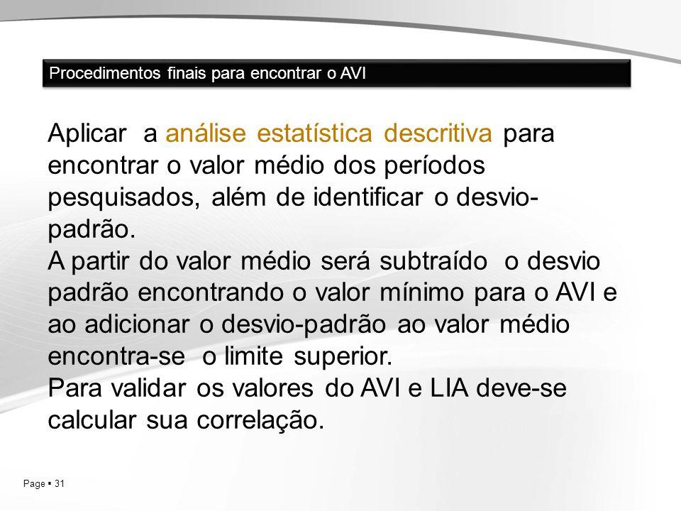 Para validar os valores do AVI e LIA deve-se calcular sua correlação.
