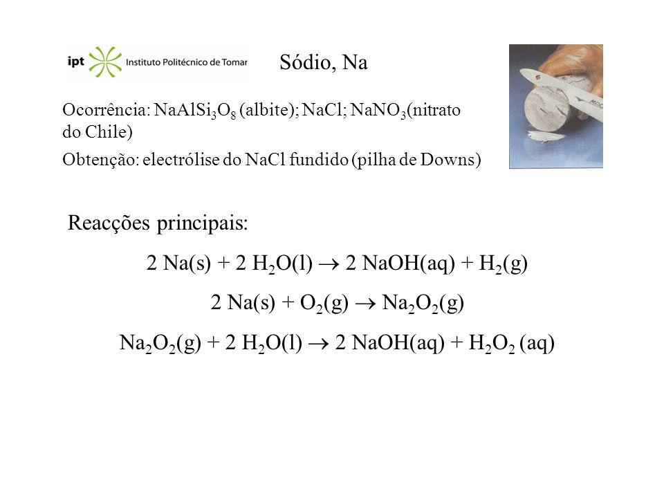 2 Na(s) + 2 H2O(l)  2 NaOH(aq) + H2(g) 2 Na(s) + O2(g)  Na2O2(g)