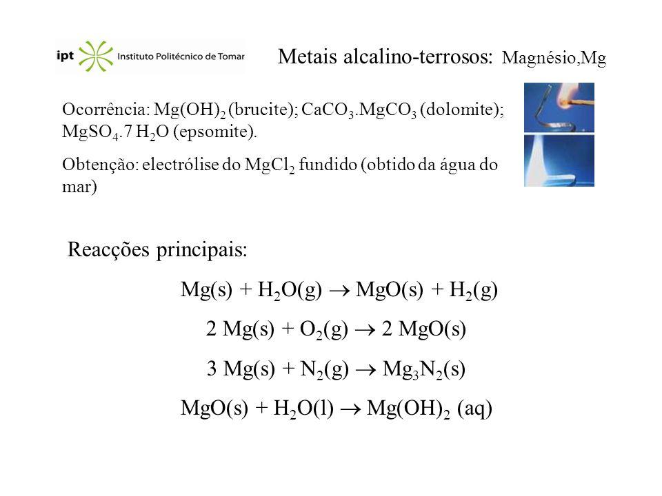 Metais alcalino-terrosos: Magnésio,Mg