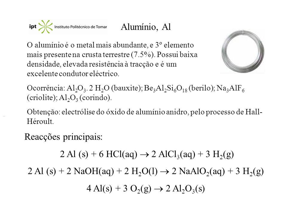 2 Al (s) + 6 HCl(aq)  2 AlCl3(aq) + 3 H2(g)