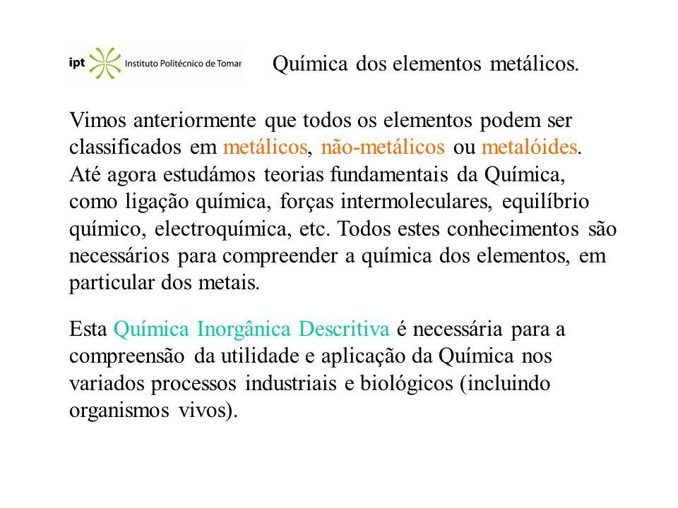 Química dos elementos metálicos.