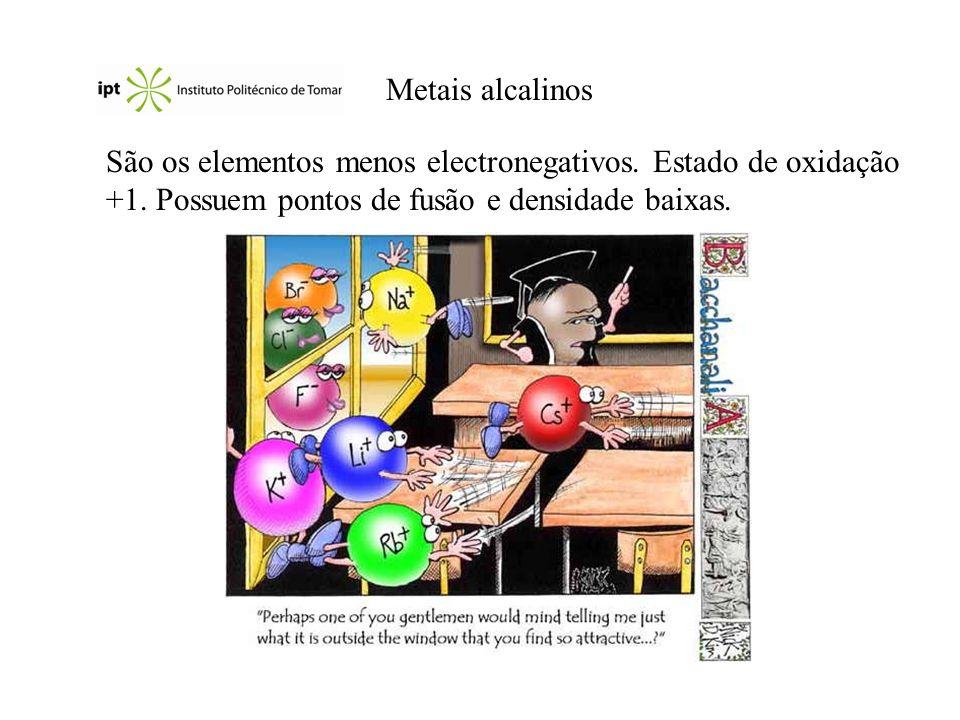 Metais alcalinos São os elementos menos electronegativos.