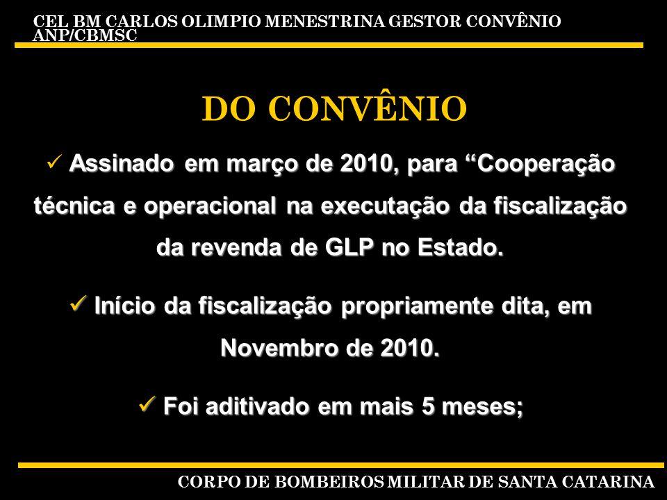 DO CONVÊNIO Assinado em março de 2010, para Cooperação técnica e operacional na executação da fiscalização da revenda de GLP no Estado.