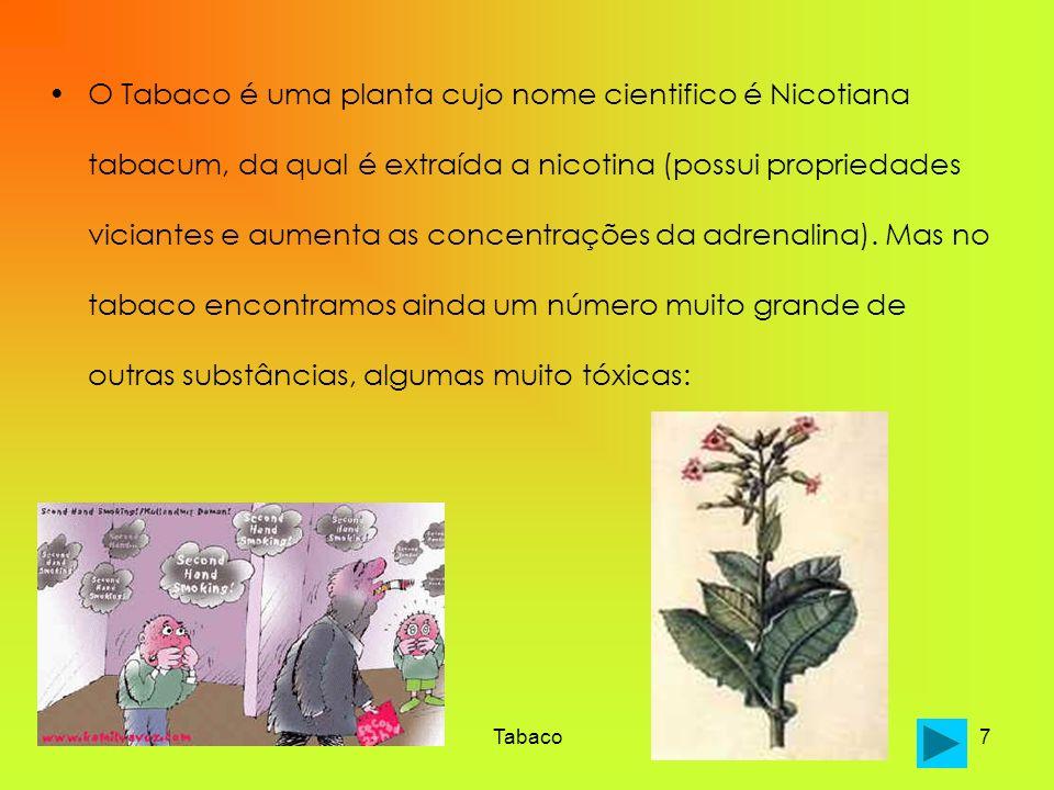 O Tabaco é uma planta cujo nome cientifico é Nicotiana tabacum, da qual é extraída a nicotina (possui propriedades viciantes e aumenta as concentrações da adrenalina). Mas no tabaco encontramos ainda um número muito grande de outras substâncias, algumas muito tóxicas: