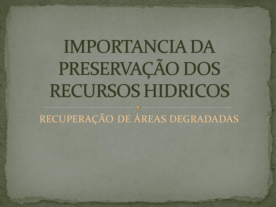 IMPORTANCIA DA PRESERVAÇÃO DOS RECURSOS HIDRICOS
