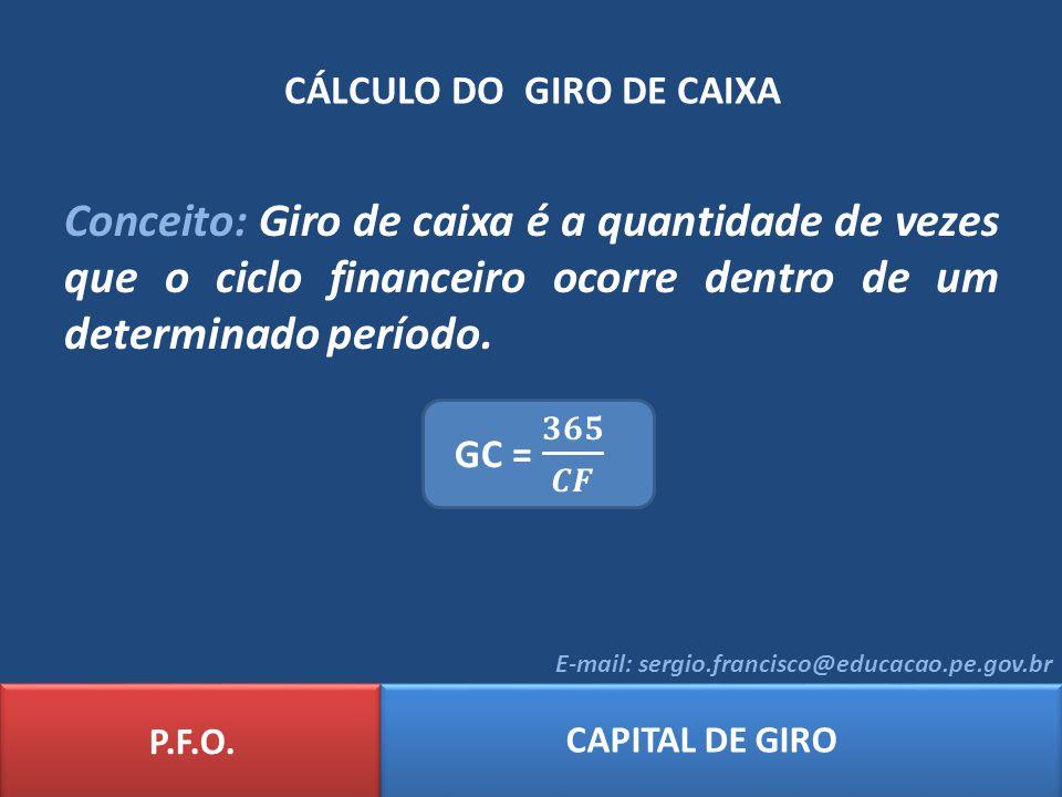 CÁLCULO DO GIRO DE CAIXA