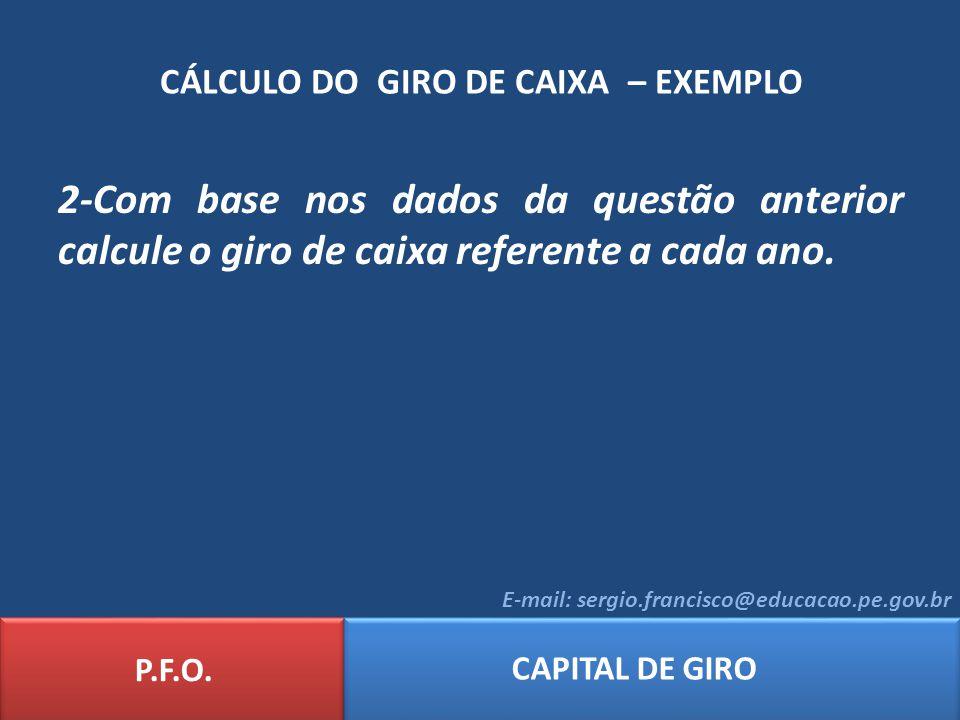 CÁLCULO DO GIRO DE CAIXA – EXEMPLO