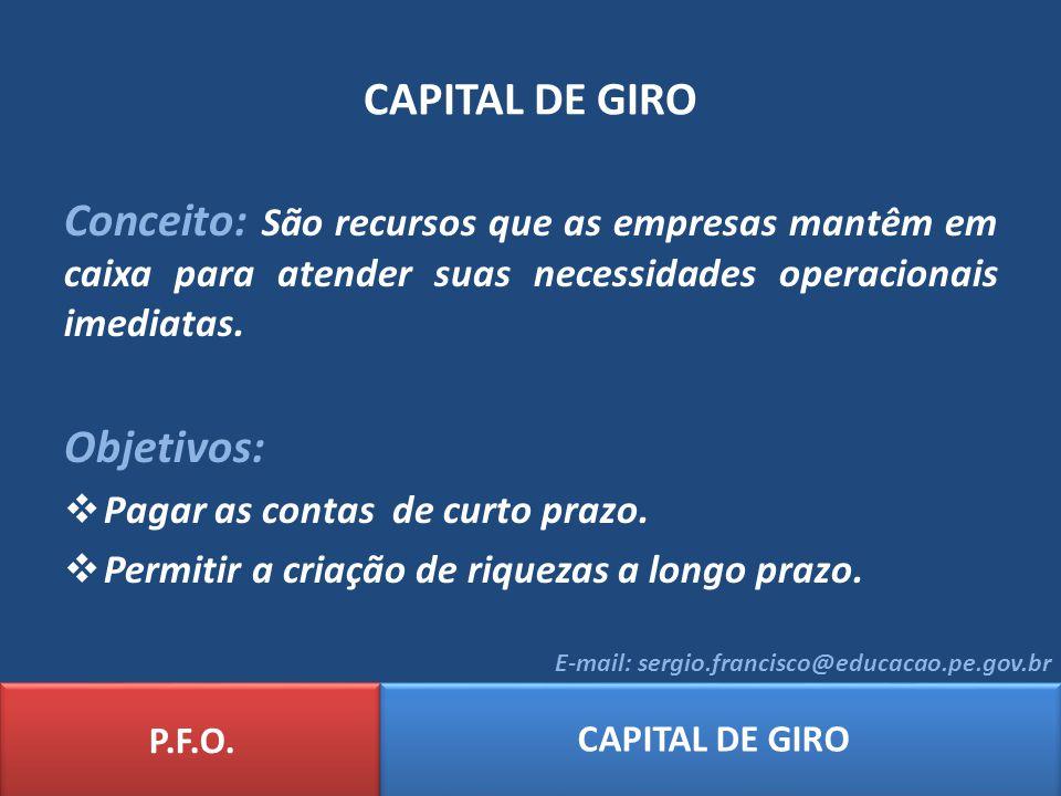 CAPITAL DE GIRO Conceito: São recursos que as empresas mantêm em caixa para atender suas necessidades operacionais imediatas.