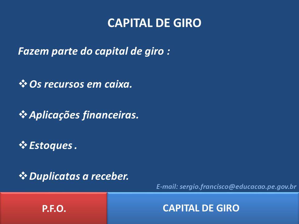 CAPITAL DE GIRO Fazem parte do capital de giro : Os recursos em caixa.