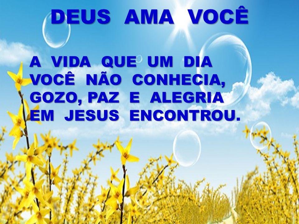 DEUS AMA VOCÊ A VIDA QUE UM DIA VOCÊ NÃO CONHECIA, GOZO, PAZ E ALEGRIA EM JESUS ENCONTROU.