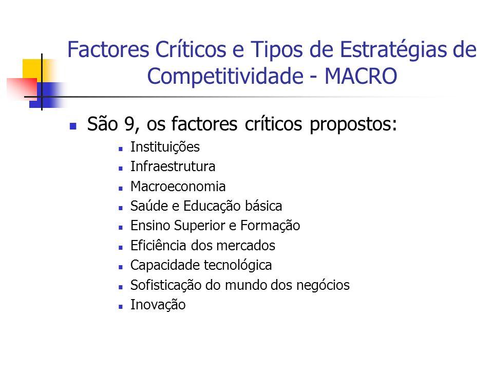Factores Críticos e Tipos de Estratégias de Competitividade - MACRO