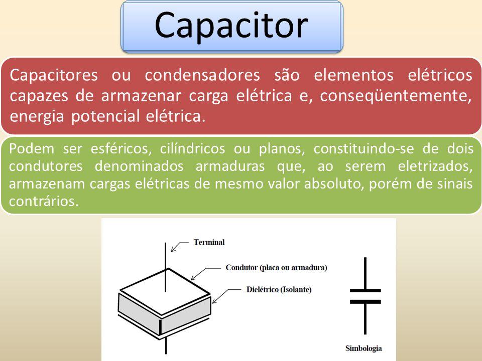 Capacitor Capacitores ou condensadores são elementos elétricos capazes de armazenar carga elétrica e, conseqüentemente, energia potencial elétrica.