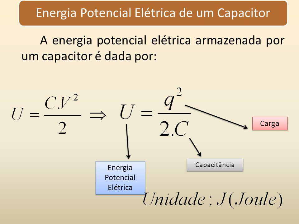 A energia potencial elétrica armazenada por um capacitor é dada por: