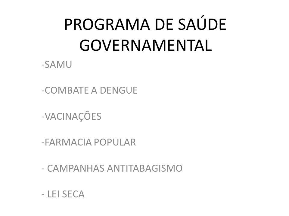 PROGRAMA DE SAÚDE GOVERNAMENTAL