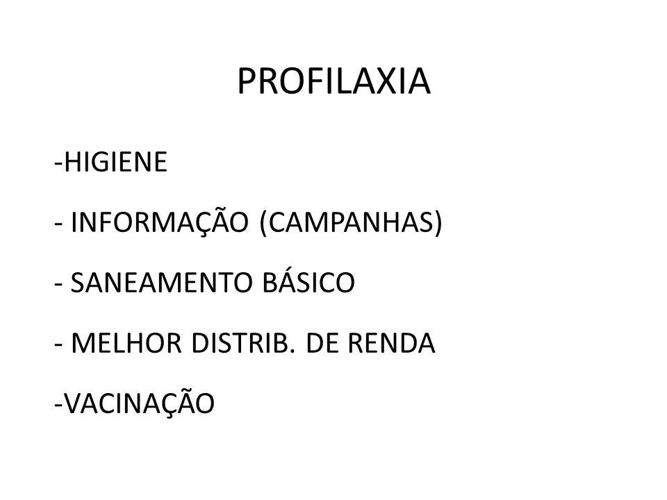 PROFILAXIA HIGIENE INFORMAÇÃO (CAMPANHAS) SANEAMENTO BÁSICO