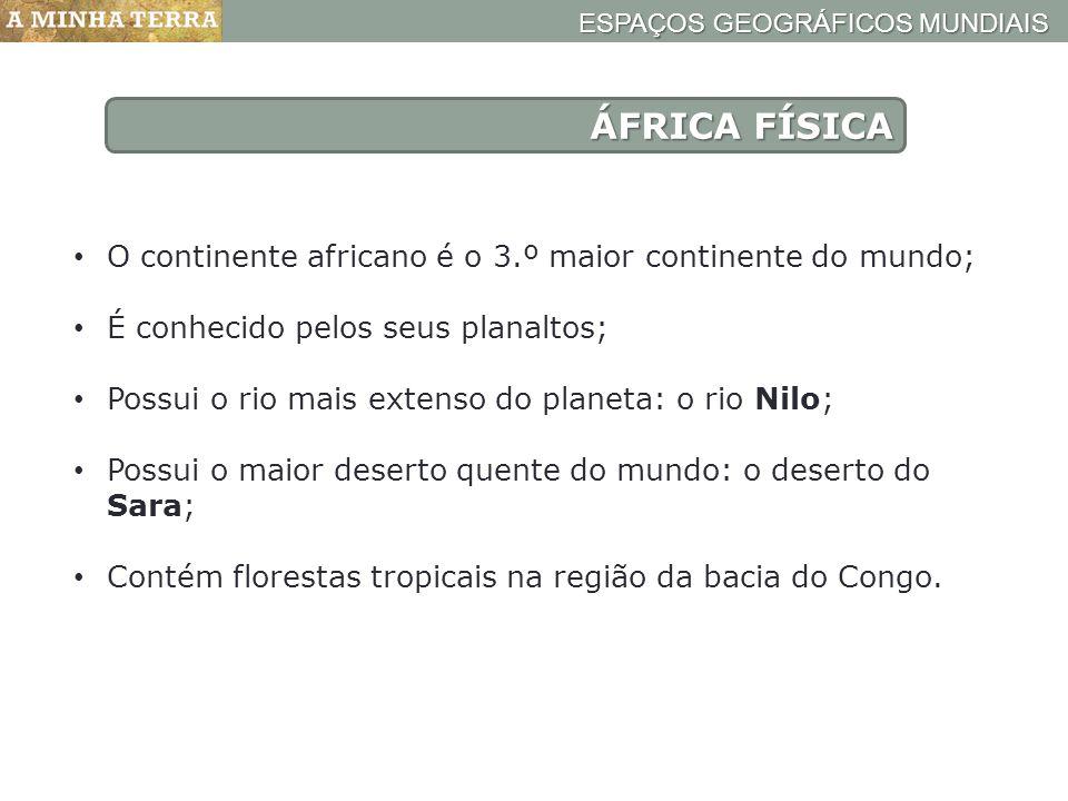 ÁFRICA FÍSICA O continente africano é o 3.º maior continente do mundo;