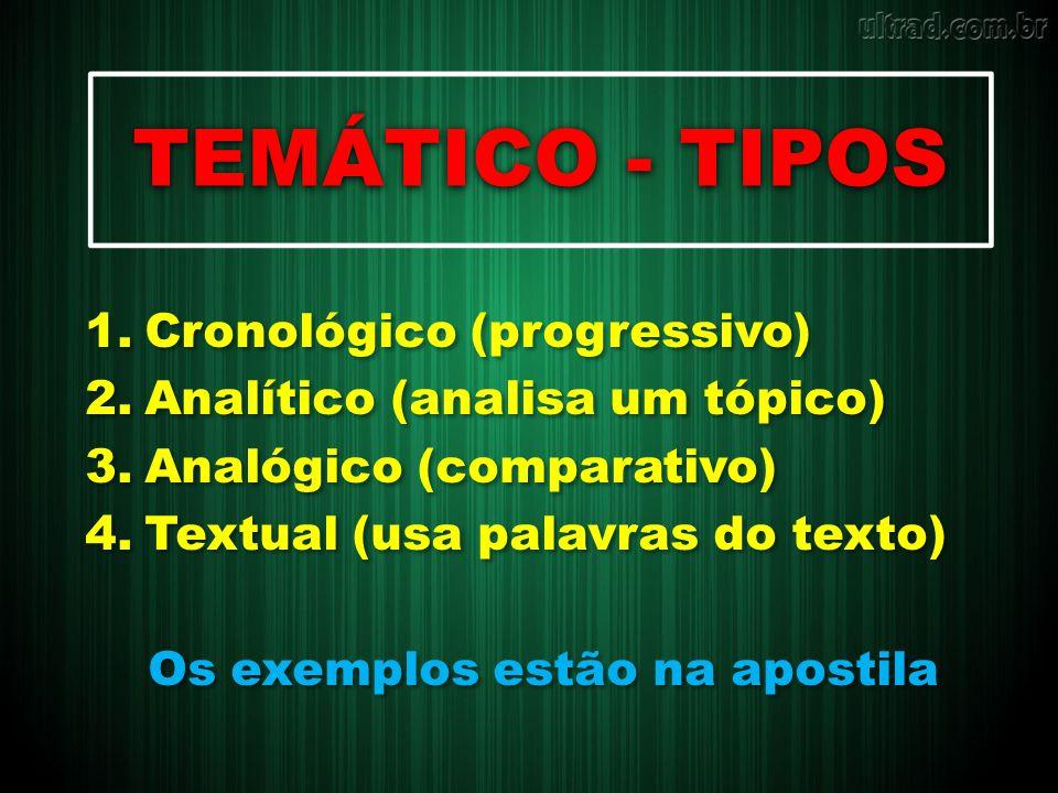 TEMÁTICO - TIPOS Cronológico (progressivo)