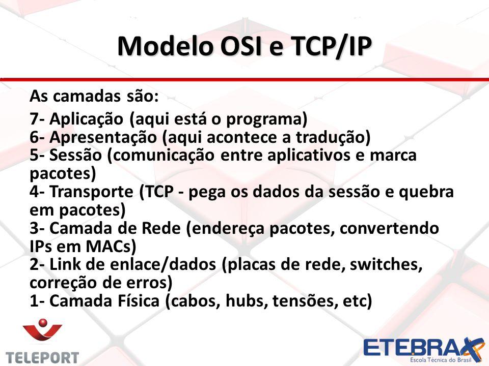 Modelo OSI e TCP/IP As camadas são: