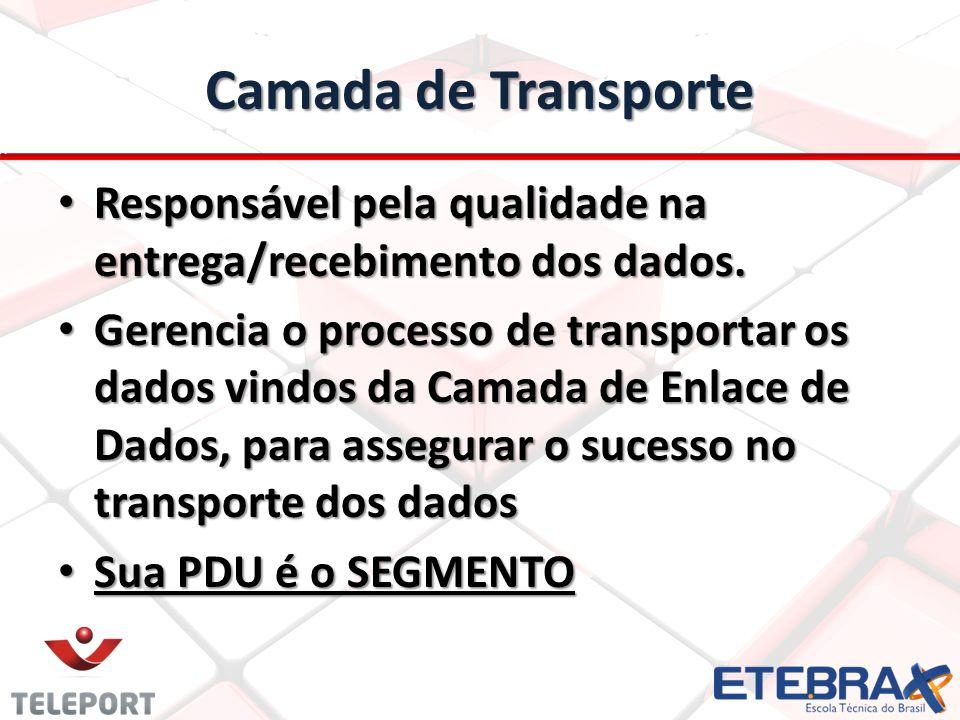 Camada de Transporte Responsável pela qualidade na entrega/recebimento dos dados.