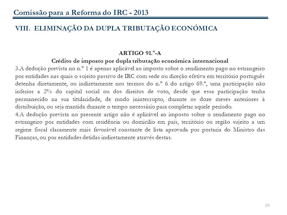 Crédito de imposto por dupla tributação económica internacional