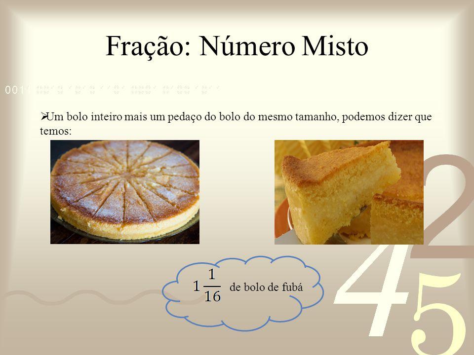 Fração: Número Misto Um bolo inteiro mais um pedaço do bolo do mesmo tamanho, podemos dizer que temos:
